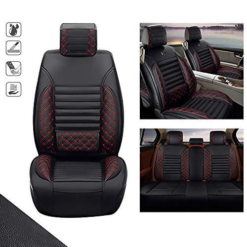huitelai Fundas de asiento de coche para J EEP Cherokee de 5 asientos de piel sintética, impermeables, fáciles de instalar, juego completo, edición estándar, color negro y rojo