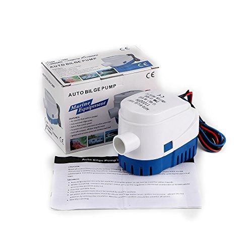 Sunsbell 1100 GPH Pompe Automatique de Ponton pour Bateau Pompe Submersible électrique 12V DC Petite