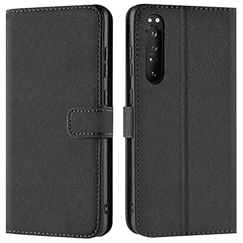 Verco Handyhülle für Sony Xperia 1 III Hülle, Bookcase Tasche Flipcover für Sony Xperia 1 III (3) Hülle [Kartenfächer/Aufstellfunktion], Schwarz