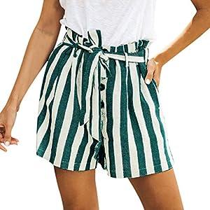 Deep lovly – Pantaloncini da Donna a Righe con Bottoni Automatici Estivi in Cotone e Lino
