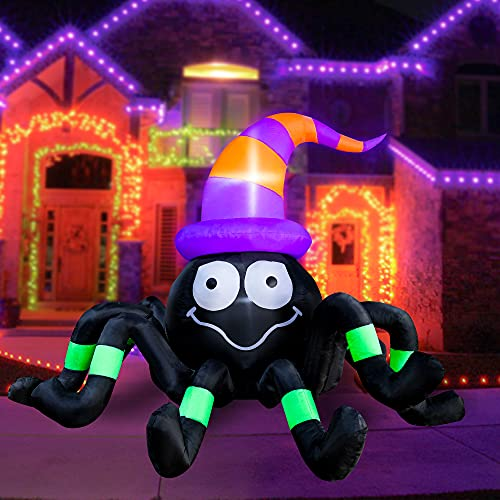 BLOWOUT FUN 6ft Long Inflatable Halloween Spider with Magic Hat Decoration, LED Blow Up Lighted Decor Indoor Outdoor Holiday Art Decor Decorations