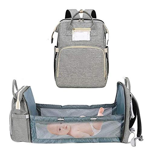 MFFACAI Crib Diaper Backpack, 3-in-1 Travel Bassinet Foldable Baby Bed, Changing Station for Men Women, Portable Bassinets For Baby Girls Boys, Travel Crib Infant Sleeper, Baby Nest (Color : Gray)