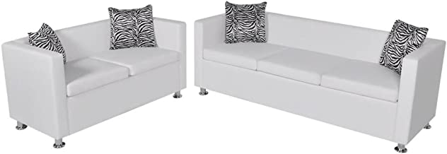 Festnight Sofa Set Office Sofa Artificial Leather 3-Seater and 2-Seater Living Room Furniture White Type 1