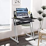 Aingoo – Small Computer Desk with Rolling Keyboard Tray and Metal Frame Space Saving Study Desk, Black