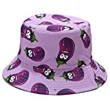 ERUYN Unisex Divertido Sombrero de Cubo con Estampado de Vegetales Reversible Hip Hop Panamá Gorra de Pescador patrón de Berenjena púrpura