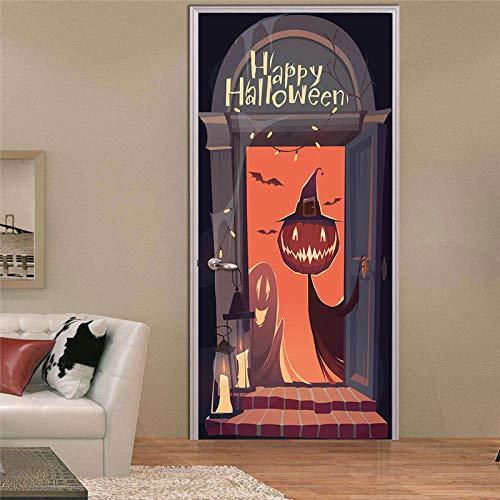 Sprinong® Selbstklebende 3D Tür Wandbilder Schälen Und Stick Decor Aufkleber - Halloween-Ideen 77 * 200Cm - Diy Home Design Tapete Abnehmbare Kunst Poster