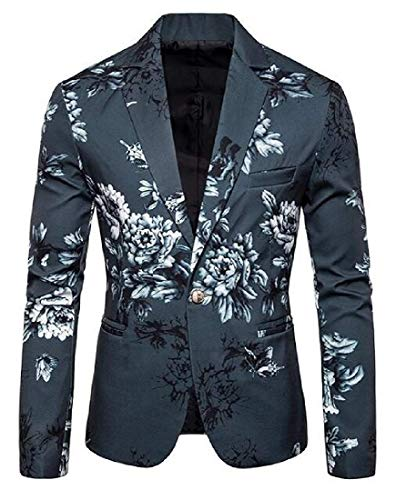 Men Blazer Jacket Formal 1 Button Floral Printed Suit Blazer Coat Jacket,Army Green,US-L