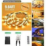 ALEHOU LEDセンサーライトUSB 5V 3M/9.84ft LEDライトテープ ウォームホワイトライト 足元灯 高輝度 USB接続給電式 省エネ 超寿命 モーションセンサーと電源アダプ ター付き LED階段照明 クロゼット ブラケット キャビネット テレビの壁照明 玄関に最適