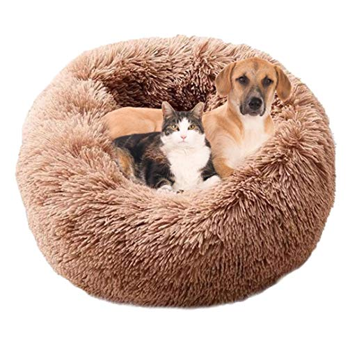 Pamura - Flauschwolke - kuscheliges Hundebett - weiches Katzenkörbchen - Flauschiges Hundesofa - Hundekissen - Kuschelbett - Hundekörbchen - flauschig - kuschelig - weich (M 60 cm, Kaffee)