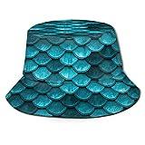 Jacklee Sombrero de pescador unisex con diseño de hoja de hierba rosada Blue Mermaid - Báscula de pescado Talla única