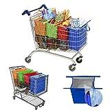 Salandens Bolsas Reusables - Kit de 4 bolsas reusables en colores Naranja, Verde, Morado y Azul. Adaptadas para carritos de supermercados en Mexico
