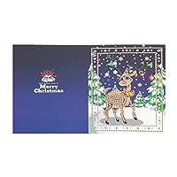 Qitiner 5D DIY特殊形状ダイヤモンド塗装エルククリスマスグリーティングカード(HK010)