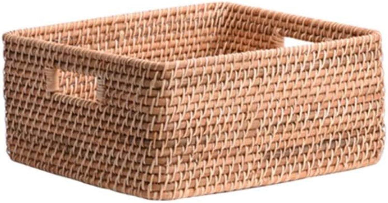 MUMA Storage Basket Handicraft Woven Double Handle Snack Desktop Organizer Container (color   T1, Size   21x14.5x9cm)