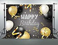 HD7x5ft誕生日の背景綿布ゴールドブラックバルーンリボン写真の背景お誕生日おめでとうパーティーバナー装飾写真スタジオ小道具LYFS451