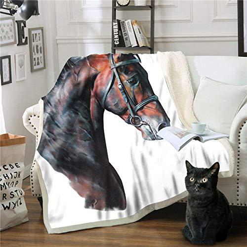 Deken, zachte dekens, tweepersoonsbed, bruin, 3D-print, paarden, fluffy, reizen, warm licht, winterdeken, voor bed, bank, dekbedovertrek, pluizig 75×100cm/30×40inch