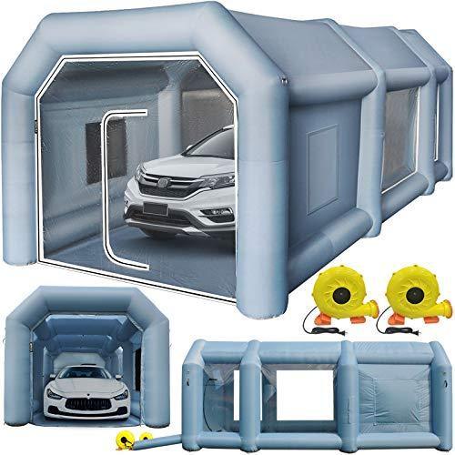 VEVOR Cabina di Verniciatura Gonfiabile in Tessuto Oxford 210D PVC, Spazio Esterno 6x3x2,5m e Spazio Interna 5,5x2,5x2,25m di Tenda di Vernice Gonfiabile della Cabina in Grigio per Auto o Campeggio
