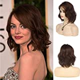 Women Brown Bob Wigs Short Curly Wavy Heat Resistant Synthetic Halloween Costume Cosplay Hair Wig with Wig Cap