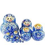 Azhna Juego de 10 matrioska, 12 cm, souvenir, matrioska, decoración del hogar, pintados a mano, muñecas rusas, muñecas apilables de madera, color azul