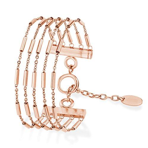 s.Oliver Damen Armband 18+3cm mehrreihig Edelstahl IP Rose