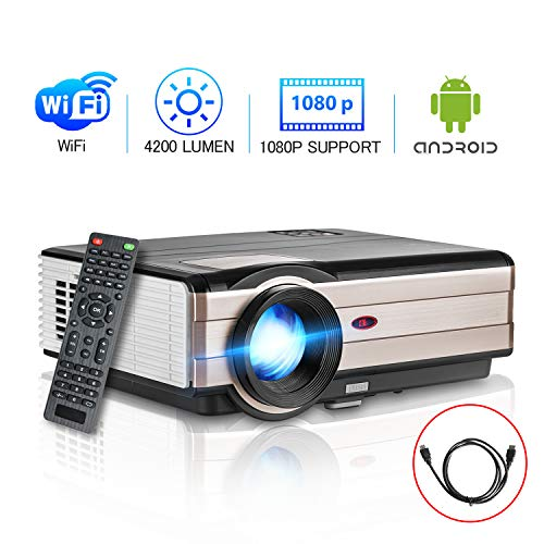 Smart LED Wifi HDMI Projector Movie Gaming TV 2020 Support 1080P Full HD Airplay Ceiling 4200 Lumens High Resolution Wireless Android HDMI USB Built In Speakers for Home Theater System Outdoor
