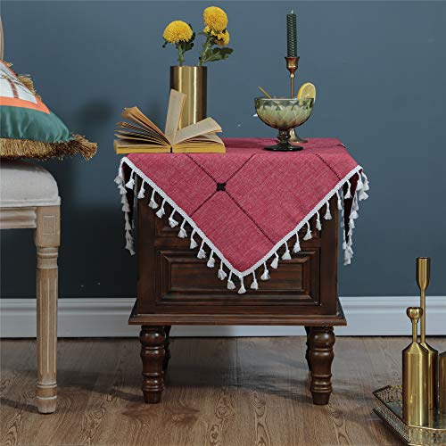 LUCKYHOUSEHOME Wine Red Lattice Small Square Tablecloth Embroidery Tassel Table Cover for Home Dinning Tabletop 24x24 Inch