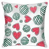 Throw Pillow Cover Case Corazón Natural Sandía Verano Verde Abstracto Lindo Postre Dibujo Diseño de Alimentos Fruta Funda de Almohada Decorativa 45cmx45cm Funda de cojín para sofá de Cama
