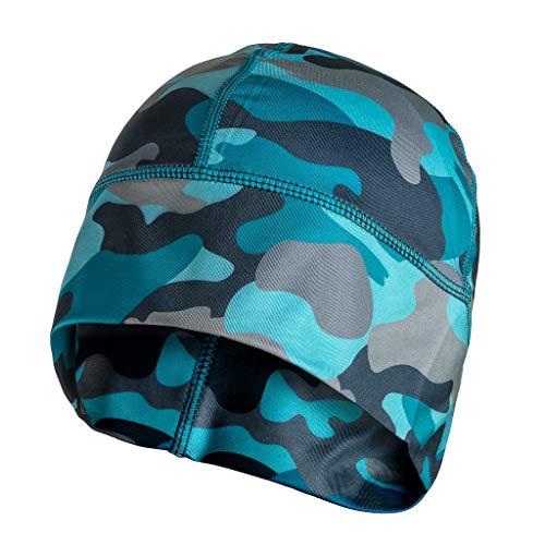 SLS3 Laufmütze Beanie für Herren und Damen | Dünne Multisport Funktionsmütze | Super Weiches Fleece | Ideal Zum Laufen, Skifahren | Winter Kopfbedeckung | Running Cap | Laufmütze (Winter Blue Camo)