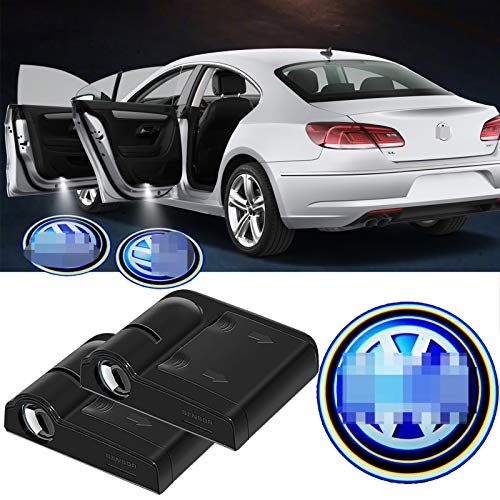2Pcs For Paste Wireless Car Door HD LED Logo Projector Lights,Courtesy Welcome Ghost Shadow Lamp Fit for CC,Eos,Golf,Jetta,Passat,Beetle,Touareg,Tiguan,Etcs