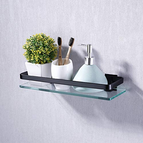 Umi. von Amazon Duschregal Glasregal Duschablage 8mm Regal Badregal Glas Badezimmer Wandregal Halterung Wandmontage Aluminium Matt Schwarz, A4126A-BK