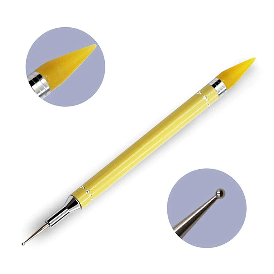 Dual-ended Dotting Pen Acrylic Studs Picker Wax Pencil Manicure Nail Art Tool (Color - Yellow)