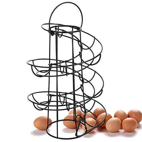 Hovico Egg Skelter Spiral Design Metal Egg Skelter Dispenser Rack,Storage Display Rack (Black)
