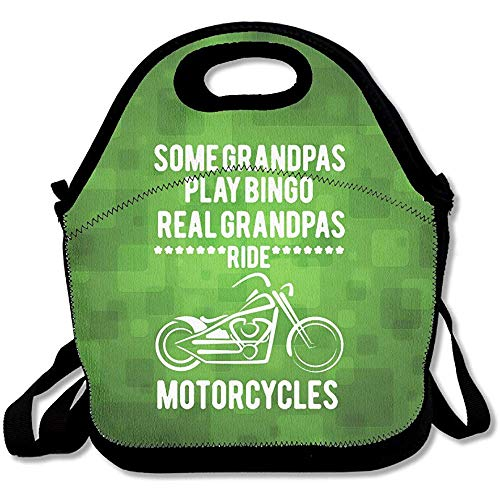 Some Grandpa's Play Bingo Real Grandpa's Ride Motorcycles Large & Thick Tote Lunch Bags With Containers Lunch Bag For Men Women Kids Enjoy You Lunch