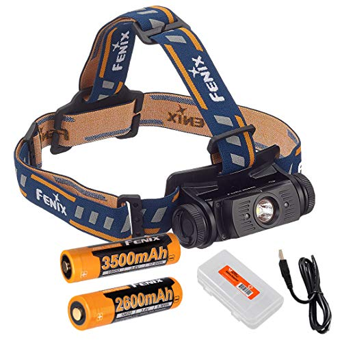 High Capacity Battery Bundle: Fenix HL60R 950 Lumens Rechargeable LED Headlamp with Extra 3500mAh Rechargeable Battery, and Lumen Tactical Battery Organizer (Black)
