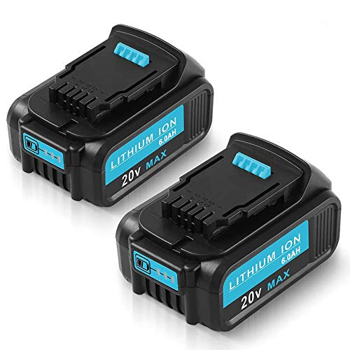 6000mAh Replacement for Dewalt 20v Battery Compatible with DCB205 DCB207 DCB203 MAX Lithium ion XR DCB201 DCB200 DCB1720 DCB204 DCB203 DCD985B Cordless Power Tools DCD/DCF/DCG/DCS series batter 2Packs