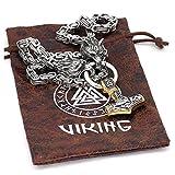 BLKJ Collar de Martillo de Thor de los Hombres, Collar de joyería de la Cadena de la mitología nórdica Viking Wolf Head Collegant de Acero Inoxidable, Moda Punk Amuleto Silver-80cm