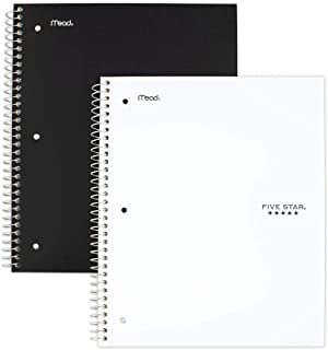 Five Star Spiral Notebooks, 5 Subject, College Ruled Paper, 200 Sheets, 11 x 8-1/2 inches, Black, White, 2 Pack (73035)
