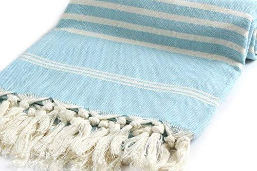 Cacala Hand Loomed Turkish Towel Pestemal Soft Cotton Turquoise