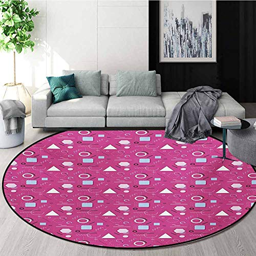 Best Prices! RUGSMAT Geometric Round Rug,Vintage Memphis Style Triangles Hexagons and Squares Eighti...