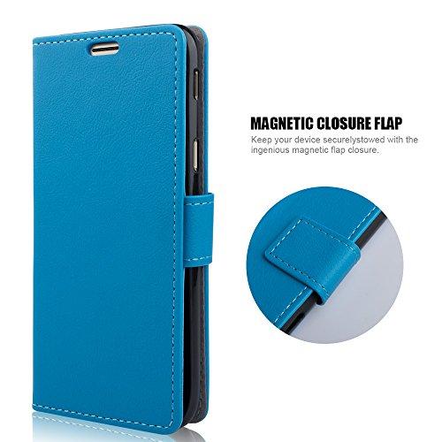 zStarLn Blu Luxury Portafoglio Protettiva Custodia in Pelle per Samsung Galaxy J5 2017 Cover Caso + 3 Pellicola Protettiva e Stylus Pen