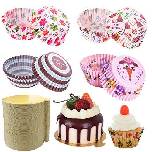400 sztuk mini foremek do muffinek, foremki do babeczek, 100 szt., tęczowe kubki do pieczenia ciast, 4 stylizacje, na wesele, urodziny