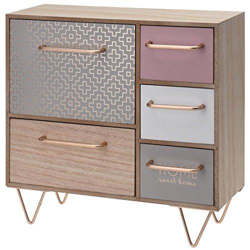Gr8 Home Mini Commode en Bois avec 5 tiroirs de Style Shabby Chic/Maison de Campagne - Idéal pour Ranger des Bijoux - Environ 32 x 32 x 14,5 cm - Multicolore