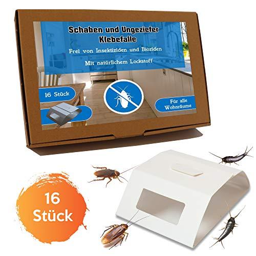 Tamay Schabenfalle Premium giftfreie Ungeziefer und Silberfischfalle I Klebefalle mit natürlichem Lockstoff I Schaben Silberfische bekämpfen - 16 Fallen I Kakerlakenfalle Ameisenfalle Insektenfalle