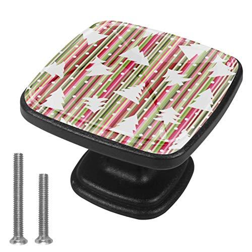 Bolas de nieve de árboles de rayas de Navidad Perillas de gabinete 4 pcs Round Knobs Knobs Tiradores de puerta de de con tornillos para la cocina de cajón de gabinete