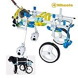 HiHydro Pet Wheelchair, Four Wheels Adjustable Dog Wheelchair Fore-Leg Rehabilitation for Handicapped Dog Pet Wheelchair Training Behavior Aids(S)
