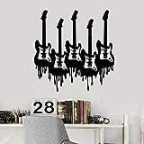 Etiqueta de la pared de la guitarra creativa instrumento musical estudio de música rock dormitorio adolescente decoración de interiores puerta y ventana etiqueta de vinilo arte