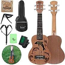Ukelele soprano de 53,34 cm, madera de sapele, 15 trastes, con agujero de sonido, cuatro cuerdas, para guitarra con afinador de bolsa, cuerda de cejilla