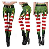 JWDUDS Femmes Leggings Noël Pantalon De Yoga Taille Haute Leggings Elasticité Skinny Imprimé Pantalon Extensible Entraînement en Cours Pantalons Collants E-XL
