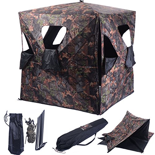 GYMAX Hunting Tent, 2-3 People Portable Hunting Blind Pop Up Groud...