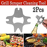 BBQ Grill Scraper cnnIUHA 2PCS Multifunction Barbecue Cleaning Blade Scrapers Bottle Opener