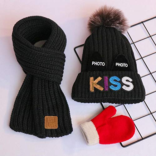 3-delig pak, kinderen, wol, hoed, sjaal, baby, vrouw, katoen, warm, trui, gebreide hoed 3-24 maanden_A